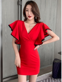 Fashion Summer 2 Colors V-neck Flouncing Slim Dress