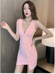 Summer Sexy 3 Colors V-neck Skinny Tank Dress