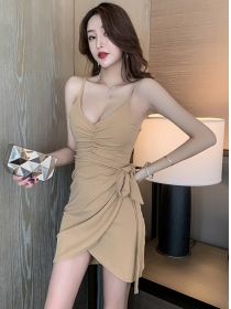 Wholesale Sexy 2 Colors Pleated V-neck Straps Dress