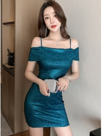 Sexy Lady 4 Colors Boat Neck Shining Skinny Dress