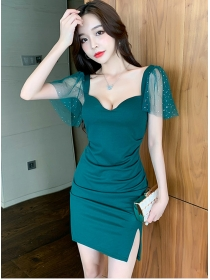 Modern Lady 2 Colors Gauze Sleeve Low Bust Slim Dress