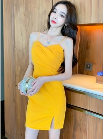 Sexy Lady 2 Colors Pleated Waist Straps Slim Dress