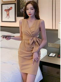 Korea New Tie Waist V-neck Pleated Tank Dress