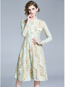 Grace Europe Color Block Lace Flowers Long Sleeve Dress