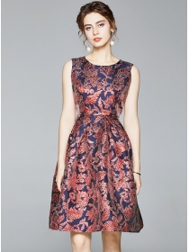 Quality Fashion Round Neck Jacquard Flowers Tank Dress