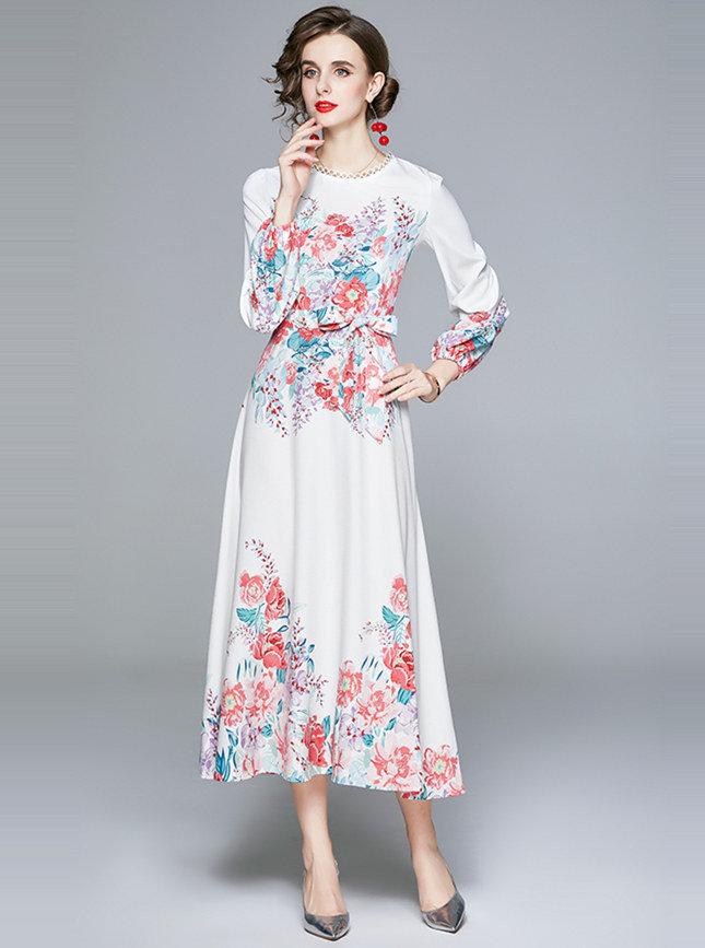 Charming Autumn Tie Waist Flowers Puff Sleeve Maxi Dress