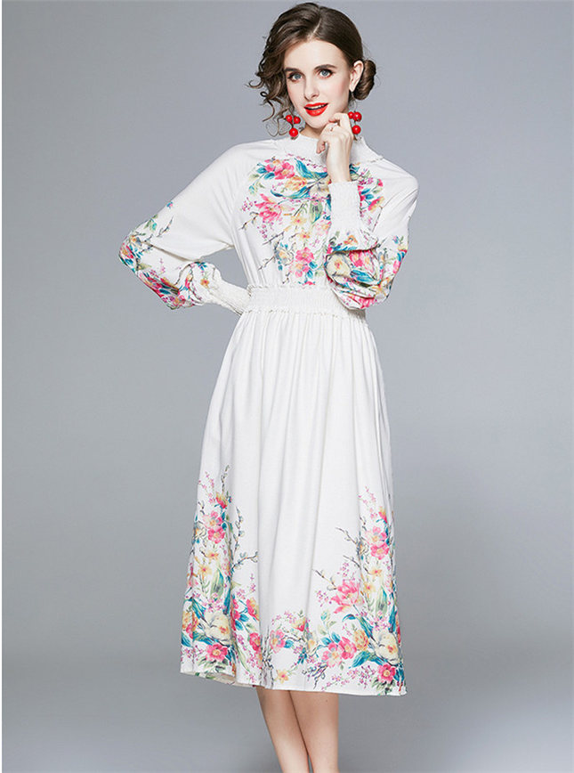 Pretty Autmn Elastic Waist Flowers Puff Sleeve Dress