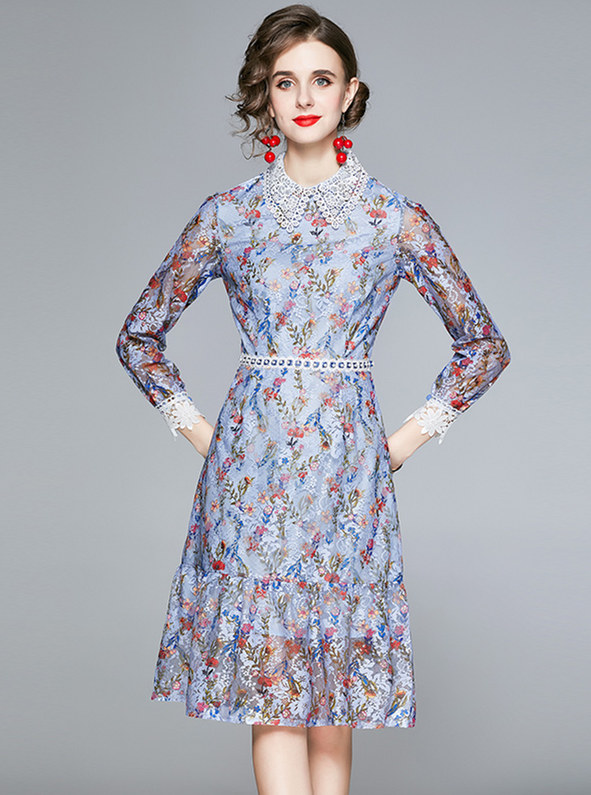 Charming Europe Doll Collar Flowers Lace A-line Dress