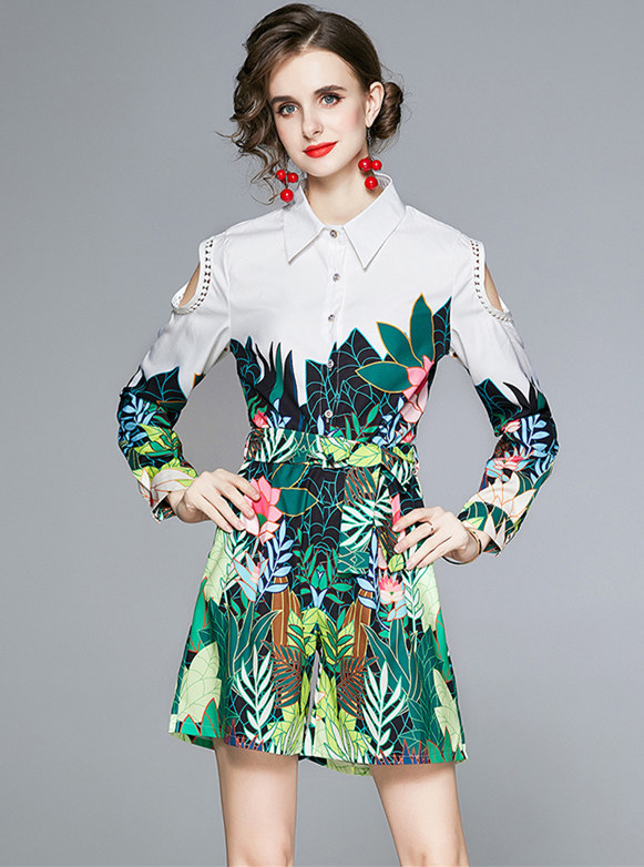 Fashion Lady Off Shoulder Flowers Printing Short Suits