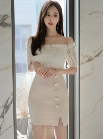 Grace Lady Lace Boat Neck Splicing Slim Dress