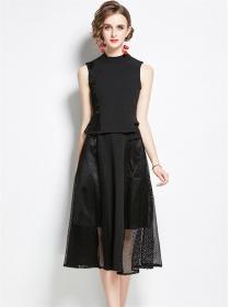 Boutique Fashion Gauze Hollow Out Tank Dress Set