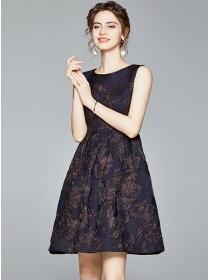 Retro Europe Jacquard Flowers Tank A-line Dress