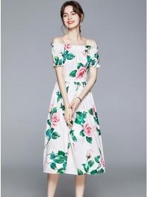 Lovely Fashion Boat Neck Flowers A-line Long Dress