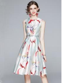 Pretty Lady Round Neck Flowers Tank A-line Dress