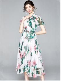 Lovely Wholesale Tie Collar Flowers Fluffy Long Dress