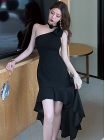 Vogue Lady Bowknot Shoulder Fishtail Slim Tank Dress