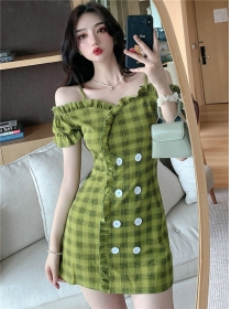 Preppy Fashion Boat Neck Double-breasted Plaids Dress