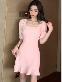 Modern Lady Square Collar Fishtail Puff Sleeve Dress
