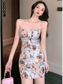 Lovely Wholesale Flowers Low Bust Straps Dress