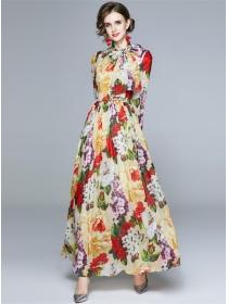 Modern New High Waist Flowers Chiffon Maxi Dress