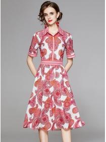 Europe Stylish Shirt Collar Flowers Short Sleeve A-line Dress