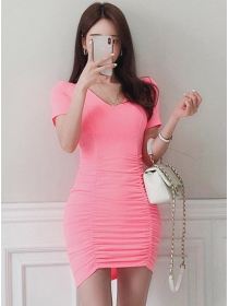 Fashion Summer 2 Colors V-neck Pleated Skinny Dress