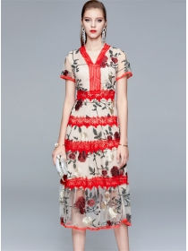 Boutique Fashion Lace V-neck Flowers Embroidery Dress