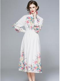 Pretty Autmn Elastic Waist Flowers Puff Sleeve Dress