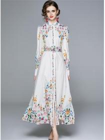 Fashion Europe Shirt Collar Flowers Belt Waist Long Dress