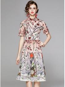 Summer Fashion Shirt Collar Flowers Short Sleeve Dress