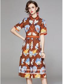 Retro Europe High Waist Shirt Collar Flowers Dress