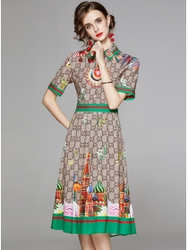 Wholesale Summer Shirt Collar High Waist Flowers Long Dress