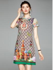 Wholesale Europe Tie Bowknot Flowers Short Sleeve Dress