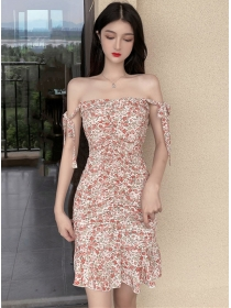 Charming 2 Colors Flowers Fishtail Pleated Straps Dress