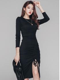 Autumn Fashion Draw-string Pleated Skinny Dress
