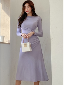 Autumn Wholesale Pleated Waist Long Sleeve A-line Dress