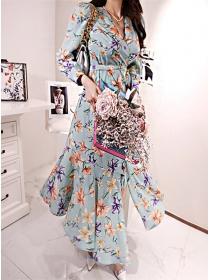 Charming Lady Tie Waist Flowers Split Long Dress