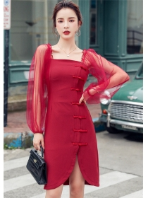 Retro Korea Gauze Sleeve Frog Buttons Slim Dress