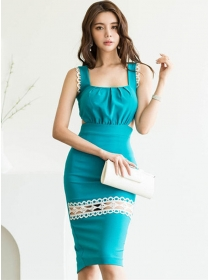 Sexy Wholesale Waist Hollow Out Bodycon Straps Dress