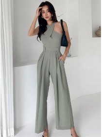 Modern Lady High Waist Halter Wide-leg Long Jumpsuit