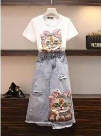 Lovely Fashion 2 Colors Cat Embroidery Denim Dress Set