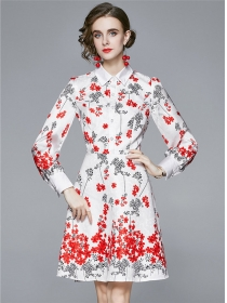 Europe Charming Shirt Collar Flowers Long Sleeve Dress
