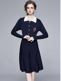 Quality Fashion Single-breasted Knitting Polo Dress