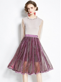 Modern OL Gauze Sleeve Knitting Tops with Beads Fluffy Skirt