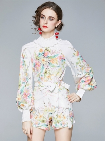 Pretty Europe Puff Sleeve Tie Waist Flowers Short Suits