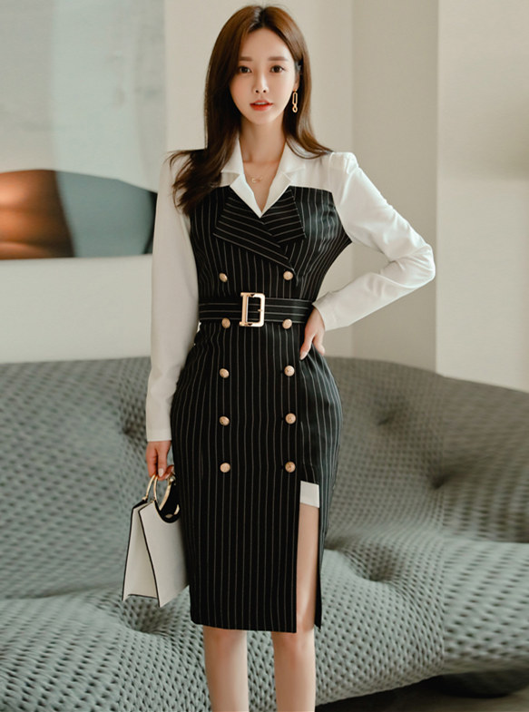 Modern Lady Color Block Double-breasted Stripes Shirt Dress