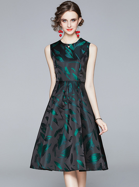 Retro Fashion Round Neck High Waist Flowers Tank Dress
