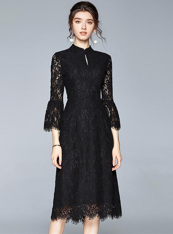Fashion Europe High Waist Flare Sleeve Lace Dress