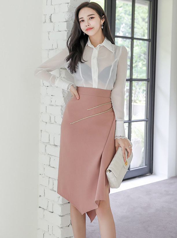 Sexy Lady Transparent Blouse with Rivets Fishtail Skirt