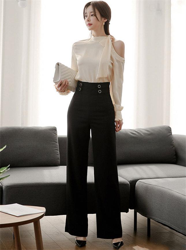 Elegant Lady Off Shoulder Blouse with High Waist Long Pants